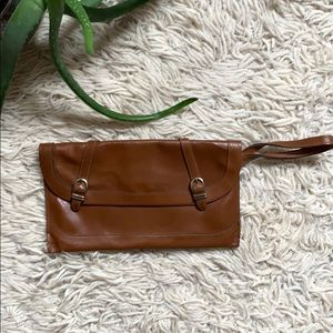 Vintage Leather Wristlet/Clutch with Gold Hardware